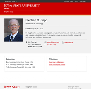 Stephen G. Sapp site screenshot.